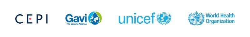 Logoer av CEPI, Gavi, Unicef, og WHO